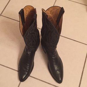 Vintage Tony Lama anaconda black cowboy boots 10D